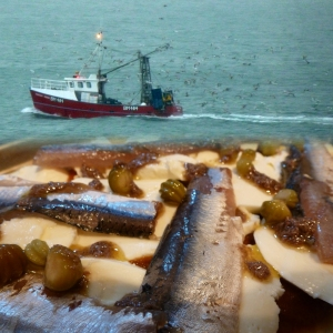 Pizza with Brixham fishing boat
