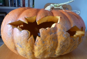 Bats carved in back of pumpkin head